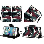 Insten Camouflage Flip Leather Fabric Cover Case Lanyard w/stand For Apple iPhone 7 - Green/Black