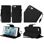 Insten Flip Leather Fabric Case Lanyard w/stand For Apple iPhone 7/ 8, Black