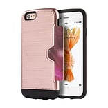 Insten Hard TPU Case w/card slot For Apple iPhone 6s Plus / 6 Plus - Rose Gold/Black