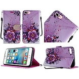 Insten Flowers Folio Leather Fabric Case Lanyard w/stand/Diamond For Apple iPhone 7/ 8, Purple