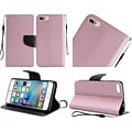 Insten Book-Style Leather Fabric Cover Case Lanyard w/stand For Apple iPhone 7/ 8, Rose Gold