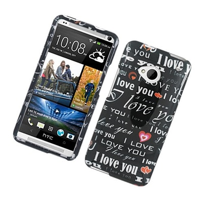Insten Love You Hard Case For HTC One M7 - Black/White