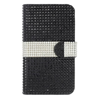 Insten Leather Wallet Diamond Cover Case with Card slot For Kyocera Hydro Wave - Black/Silver
