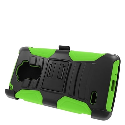 Insten Hard Hybrid Plastic Silicone Stand Case with Holster For LG G Stylo/G Vista 2 - Black/Green