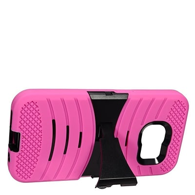 Insten Wave Symbiosis Gel Hybrid Rubber Hard Case w/stand For Samsung Galaxy S7 - Hot Pink/Black