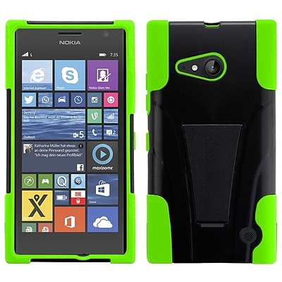 Insten For Nokia Lumia 735 Hybrid Hard Shockproof Soft PC+Silicone Case Skin with Kickstand Neon Green