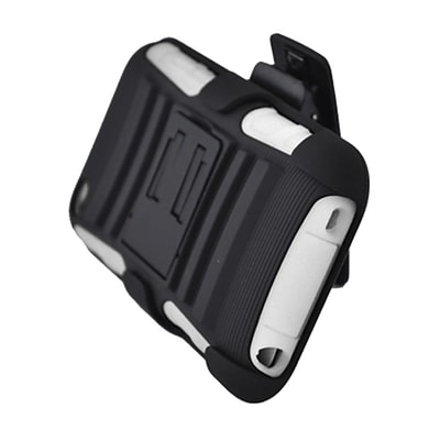 Insten Advanced Armor Hard Dual Layer Plastic Silicone Case w/stand/Holster For Apple iPod Touch 4th Gen - Black/White