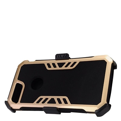 Insten Hybrid Hard Silicone Dual Layer Protective Case Cover + Holster Clip For Apple iPhone 7 Plus - Black/Gold