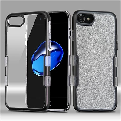 Insten Metallic Full Glitter TUFF Panoview Hybrid Hard/TPU Case Cover For Apple iPhone 7/ 8, Black/Clear Silver