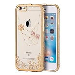 Insten Gel Case w/Diamond For Apple iPhone 6s Plus / 6 Plus - Clear/Gold