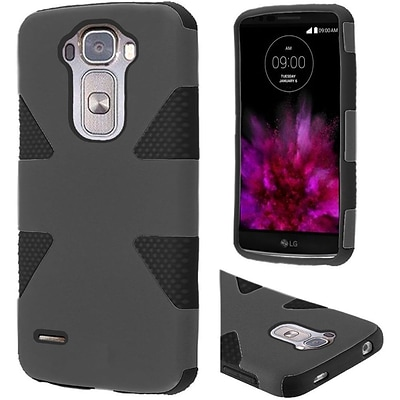 Insten Dynamic Hard Hybrid Rugged Shockproof Rubberized Silicone Cover Case For LG G Flex 2 - Gray/Black