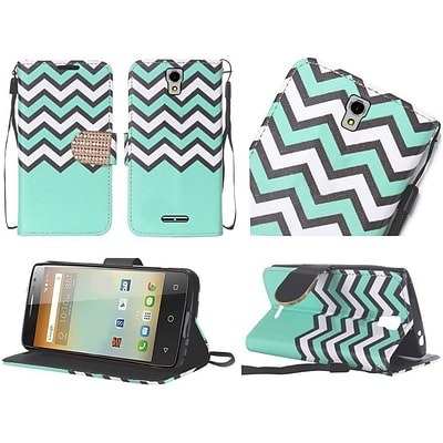 Insten Chevron Folio Leather Fabric Case Lanyard w/stand/Diamond For Alcatel One Touch Elevate - Teal/White