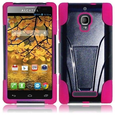 Insten Fierce T-Stand Hard Skin Case Cover For Alcatel One Touch Black/Hot Pink New