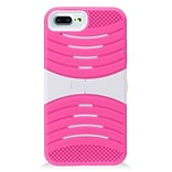 Insten Wave Symbiosis Soft Hybrid Rubber Hard Stand Case For Apple iPhone 7 Plus (5.5)- Hot Pink/Wh