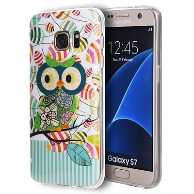 Insten Owl TPU IMD Rubber Skin Gel Back Shell Case For Samsung Galaxy S7 - Blue