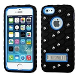 Insten Tuff eNuff Tread Gel Dual Layer 3D Rubber Hard Case w/stand/Wallet For Apple iPhone SE / 5 /