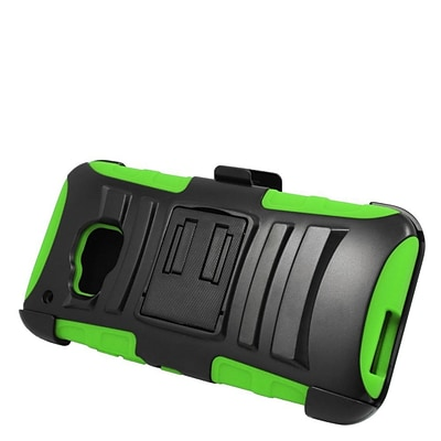 Insten Hard Hybrid Plastic Silicone Stand Case with Holster For HTC One M9 - Black/Green