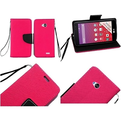 Insten Flip Leather Fabric Case Lanyard w/stand/card holder For LG Optimus F60/Tribute - Hot Pink