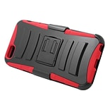 Insten Hard Hybrid Plastic Silicone Stand Case with Holster for iPhone 6s Plus / 6 Plus - Black/Red