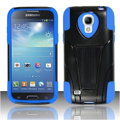 Insten Hard Hybrid Plastic Silicone Case w/stand For Samsung Galaxy S4 Mini - Black/Blue