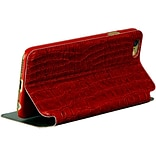 Insten Folio Leather Fabric Cover Case w/stand/card slot for Apple iPhone 6 / 6s - Red