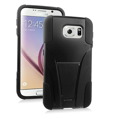 Insten Hard Dual Layer Plastic Silicone Case with stand For Samsung Galaxy S6 - Black