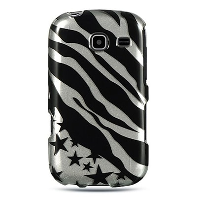 Insten For Samsung Freeform Iii / R380 Crystal Case Silver Zebra W/ Star