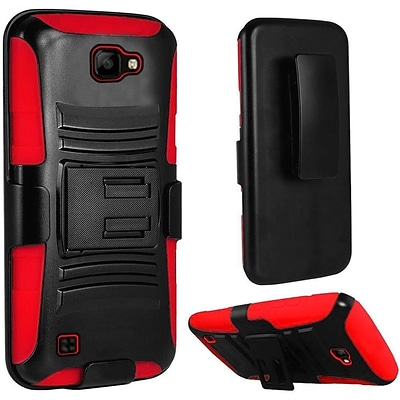 Insten Hard Dual Layer Plastic Silicone Cover Case w/Holster For LG K3 - Black/Red