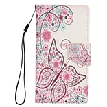 Insten Butterfly Flip Leather Fabric Stand Card Case Lanyard w/Photo Display For Apple iPhone 7 Plus