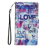 Insten Love Book-Style Leather Fabric Stand Card Case Lanyard w/Photo Display For Apple iPhone 7 Plu