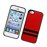 Insten Stripes PC/TPU Rubber Case Cover for Apple iPhone 5C - Red/Black