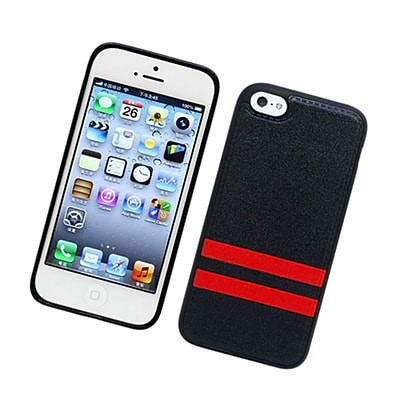 Insten Stripes PC/TPU Rubber Case Cover for Apple iPhone 5C - Black/Red
