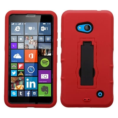 Insten Symbiosis Skin Dual Layer Rubber Hard Cover Case w/stand For Microsoft Lumia 640 - Red/Black
