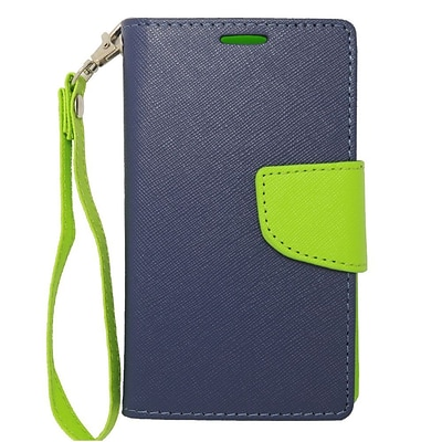 Insten Wallet Leather Case with Card Slot & Lanyard For Nokia Lumia 521 - Dark Blue/Green