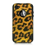 Insten Dual Layer Hybrid Hard Silicone Protective Cover Case For Apple iPhone 4 / 4S - Black/Gold Le