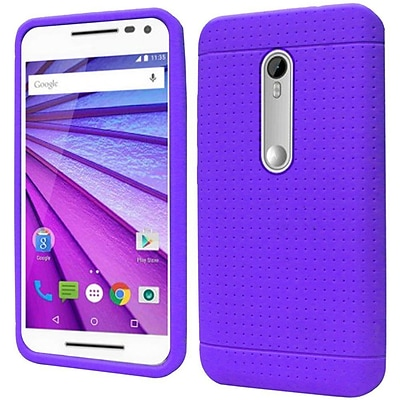 Insten Rugged Silicone Rubber Cover Case For Motorola Moto G (3rd Gen) - Purple