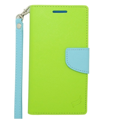 Insten Flip Wallet Leather Stand Case with Lanyard & Card slot For HTC Desire 610/612 - Green/Light Blue