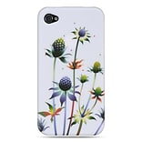 Insten Hard Crystal Rubber Skin Protective Shell Case For Apple iPhone 4 / 4S - White Spiky Weed