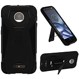 Insten Hard Dual Layer Plastic Silicone Case w/stand For Motorola Moto Z Force Droid Edition - Black