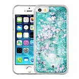 Insten Hearts Green Quicksand Glitter Hybrid Hard/TPU Protective Case Cover For Apple iPhone SE / 5