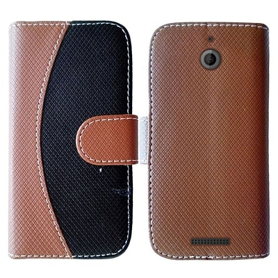 Insten Flip Leather Fabric Case w/stand For HTC Desire 510 - Black/Brown