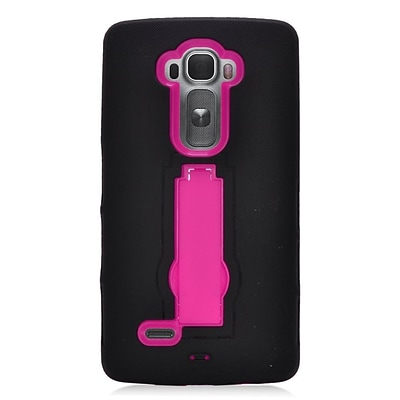 Insten Symbiosis Skin Dual Layer Rubber Hard Case w/stand For LG G Flex 2 - Black/Hot Pink