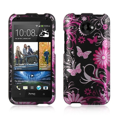 Insten Hard Rubber Cover Case For HTC Desire 601 - Black/Pink
