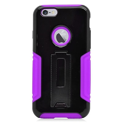 Insten Hard Hybrid Plastic Silicone Cover Case w/stand for iPhone 6 / 6s - Black/Purple
