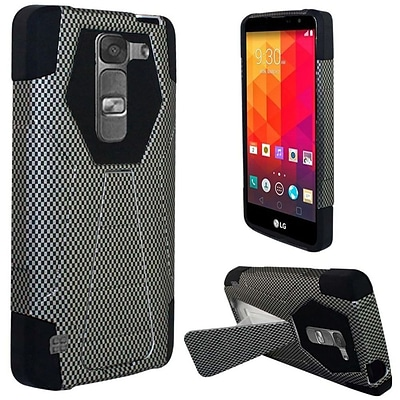 Insten Carbon Fiber Hard Dual Layer Plastic Silicone Cover Case w/stand For LG Volt 2 - Black