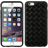 Insten TPU Imd Embed Weave Leather Skin Rubber Gel Case For Apple iPhone 6s Plus / 6 Plus - Black