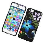 Insten Butterfly Hard Rubberized Cover Case for iPhone 6 / 6s - Blue/Purple