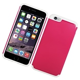 Insten Hard Hybrid Rubber Coated Silicone Case For iPhone 6s Plus / 6 Plus - Hot Pink/White