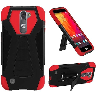 Insten Hard Dual Layer Plastic Silicone Cover Case w/stand For LG Volt 2 - Black/Red