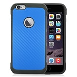 Insten Carbon Fiber Hard Dual Layer Rubber Coated Silicone Case For iPhone 6s Plus / 6 Plus - Blue/B
